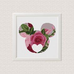 Mickey Minnie Floral Contado Cruzar Puntada patrón Silueta
