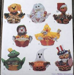 Simplicity 8658 - DIY Decorative Baskets - Easter, Christmas, Halloween, Fourth of July, Etc. - Gift Idea - Bunny, Ghost, Frog, Dog - UNCUT Craft Patterns, Cool Patterns, Craft Club, Basket Decoration, Room Themes, Easter Baskets, Fourth Of July, Dogs And Puppies, New Baby Products
