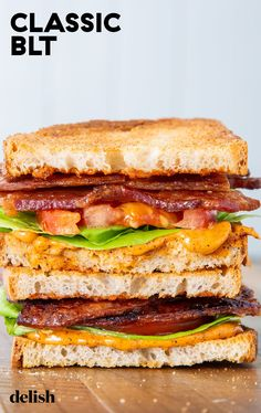 A classic BLT doesn't need much to be good. #sandwich #recipe #easy #howtomake Blt Recipes, Lunch Recipes, Cooking Recipes, Healthy Recipes, Sandwich Recipes, Delicious Recipes, Sandwiches, Soup And Sandwich, Chicken Sandwich