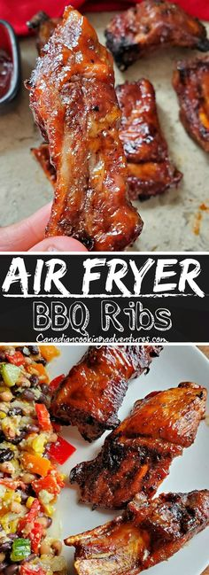 These Air Fryer Bbq Ribs are AMAZING! And believe it or not, tender and absolutely delicious! Air Fryer Dinner Recipes, Air Fryer Recipes Easy, Lunch Recipes, Easy Dinner Recipes, Easy Dinners For Two, Easy Healthy Dinners, Quick Easy Meals, Dinner Healthy, Pork Spare Ribs