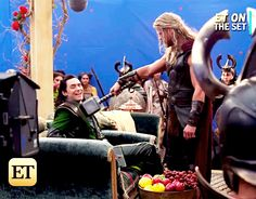 Tom Hiddleston and Chris Hemsworth on the set of Thor: Ragnarok (http://www.etonline.com/exclusive-chris-hemsworth-thors-epic-battle-hulk-ragnarok-whoa-im-87092 ) (ET Online)