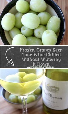 Frozen grapes keep your wine chilled without watering it down.  GENIUS! #wine #grapes #appetizers