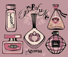 Dibujo botellas de perfume Vector Gratis