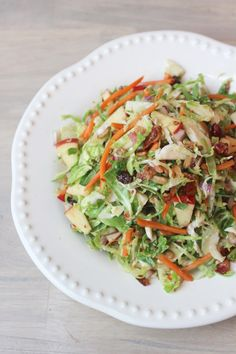 brussels sprouts salad with apple, raisins and carrot recipe; Easter side dish