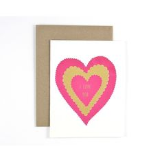 Spread the love with this sweet vintage-inspired valentine! Printed in brilliant magenta and shimmering gold it s sure to melt a few hearts! • hand screen printed in Halifax Nova Scotia • blank inside • 4¼ × 5½ folded size • comes with a kraft envelope