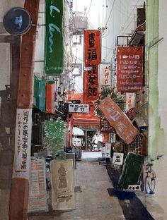 Artist Masato Watanabe  [Alley] Watercolor 路地 水彩 2012年