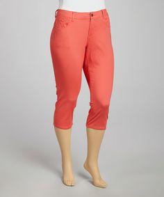 Another great find on #zulily! Coral Twill Capri Pants - Plus #zulilyfinds