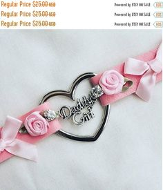 30offsale Daddys Girl Faux Leather Lolita Bow Rhinstone And Roses Day Collar Heart Ddlg