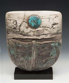 Peter Hayes (b.1946) Raku Bow with Blue Wave and