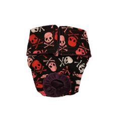 Red and White Crossbones on Black Washable Dog Diaper