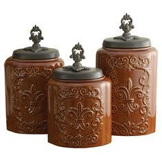 3 Piece Jenette Antique Canister set -- super pretty!