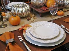 thanksgiving tablescape mercury glass pumpkins and vintage wood, home decor, seasonal holiday d cor, thanksgiving decorations, Chris Madden Felice dinnerware a 10 Goodwill find and pewter flatware star in th place setting