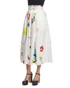 Collage-Print+Wrap+Cotton+Midi+Skirt,+Multi+Colors+by+Marc+Jacobs+at+Neiman+Marcus.