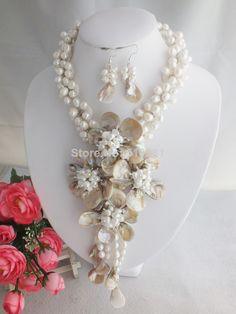 Freshwater pearl and shell Fashion Flower necklace No-1845 $59.63