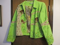 ANAGE GREEN JUNGLE MONKEY SEQUINS EMBROIDERED WOMENS COTTON XL JACKET #ANAGE #BasicJacket