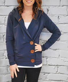 $46.99 Loving this Blue Asymmetric Button-Up Cardigan on #zulily! #zulilyfinds