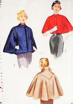ELEGANT Cape In Two Lengths Pattern SIMPLICITY 3122 Unique V Shaped Yoke Back Classy Cape Coat Cloak Capelet Day or Evening Bust 32 Vintage Sewing Pattern-Authentic vintage sewing patterns: This is a fabulous original dress making pattern, not Vintage Sewing Patterns, Clothing Patterns, Vintage Outfits, Vintage Fashion, Vintage Coat, Vintage Stuff, Dress Making Patterns, Moda Vintage, Love Clothing