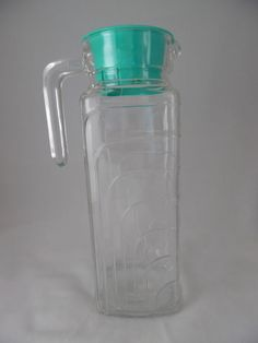 Clear Glass Pitcher with Teal/ Aqua Lid!  It is Space Saving! Orange Juice Pitcher TMA9 #Lilac