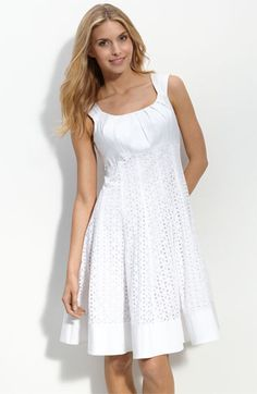 GORGEOUS white eyelet dress with a jean jacket and cowgirl boots is exactly what I'm thinking for our country wedding :)