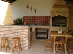 Churrasqueira com forno, atraente e funcional Parrilla Exterior, Outdoor Spaces, Outdoor Living, Barbecue Grill, House Plans, Sweet Home, New Homes, Backyard, House Design