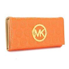Need we say more? Michael Kors Outlet Monogram Flap Continental Large Orange Wallets $29.99