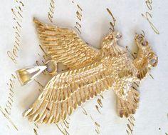 Vintage Eagle Pendant, Sterling Silver Pendant, Silver Bird, Vintage Pendant