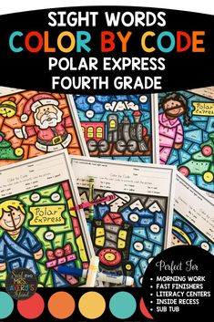 Your fourth graders will love these Polar Express theme no-prep printable color by sight word worksheets! Keep them motivated and engaged as they increase their reading fluency with all 4th grade Fry sight words! Develop their fine motor skills while improving their reading comprehension skills during the Christmas season!  Answer keys are included!  Perfect for morning work, literacy centers, reading intervention/RTI, inside recess, fast finishers, ELL/ESL, homework, and homeschool activities!