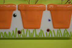 Terra Cotta Wall Pocket - Fused Glass - Flower Pocket - Vase Pocket - Butterflies - Lady Bugs - Bumble Bee by Purpleslug on Etsy