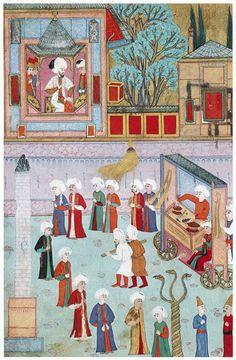 Osman Humayun (The guild of kebab cooks) Cradle Of Civilization, Islamic Paintings, Turkish Art, Ottoman Empire, Illuminated Manuscript, Islamic Art, Indian Art, Painting Inspiration, Medieval