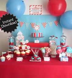 Editable Vintage Circus Party Pack - Instant Download - Fill in Text and Print at home - Carnival Party .. svc01 Signature Collection