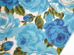 Vintage Fabric  Blue Roses  Cotton Remnant by PaperElf on Etsy