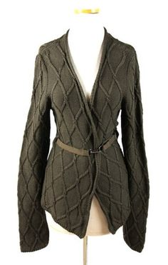 LUXE New 'S MAX MARA Dark Taupe Olive Army Green CHUNKY KNIT CARDIGAN SWEATER L | eBay