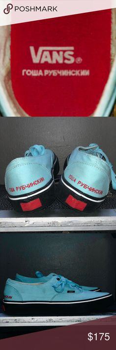 san francisco 9289f 31896 GOSHA RUBCHINSKIY x VANS™ Size 10. Teal blue. Bright red lettering.