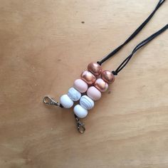 Polymer clay bead necklace nude copper rose gold lanyard keyring by RafHop on Etsy https://www.etsy.com/au/listing/558394397/polymer-clay-bead-necklace-nude-copper