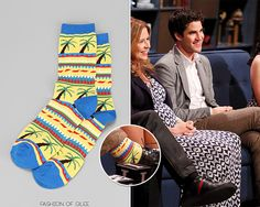 Darren Criss appears on Hollywood Game Night, Los Angeles, episode airs June 6, 2014  Urban Outfitters Palm Tree Sock - No longer available  Worn with: Asos blazer, Topman trousers