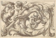 Horizontal Panel design w/ two Hybrid creatures Interspersed between Acanthus Rinceaux ~ 17th century Venetian drawing