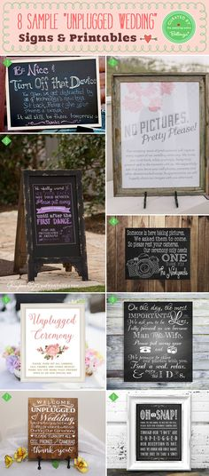 Unplugged Wedding Signs and Printables from our post on 10 Tips for Wedding Etiquette in the Age of Social Media.