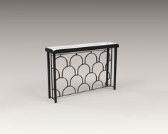 AKAR DE NISSIM's ECAILLE console in powder coated steel with its geometrical pattern and a touch of Art Deco style. It will play elegantly with the light reflection in a foyer or in a corridor.