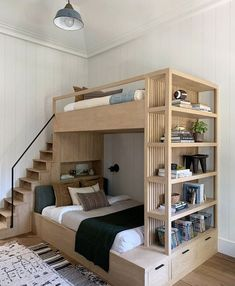 This bunk bed by Amber Lewis creates so much storage space! Created for her latest project, this bunk bed was combined with a bookshelf and drawers. Plus, unlike typical bunk beds, this one has a small set of stairs that lead to the upper level. Home Room Design, Home Interior Design, Small Room Design Bedroom, Small Bedroom Designs, Bedroom Modern, Very Small Bedroom, 4 Bedroom House Designs, Eclectic Bedrooms, Loft Design