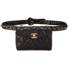 Black Quilted Lambskin Belt Bag 32 ❤ liked on Polyvore featuring bags, handbags, quilted bag, quilted handbags and quilted purses