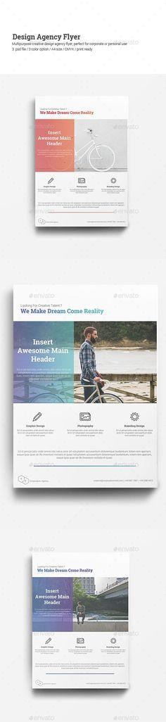 Design Agency Flyer Template PSD #design Download: http://graphicriver.net/item/design-agency-flyer/13819128?ref=ksioks