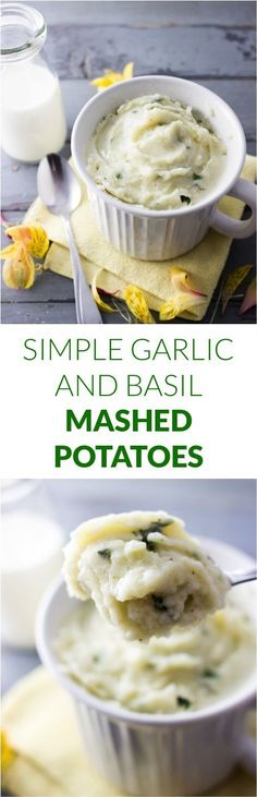 Simple garlic and basil mashed potatoes | savorytooth.com