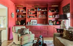 painted built ins with drawers + library lights