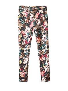 Retro Style Floral Pattern Slimming Full Skinny Pants For Women