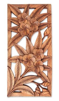 Hand Carved Floral Relief Panel, 'Sweet Frangipani Flowers' - Mohua Chakraborty Hand Carved Floral R Wood Carving Designs, Wood Carving Patterns, Wood Carving Art, Wooden Art, Wood Wall Art, Wood Sculpture, Wall Sculptures, Chip Carving, Wood Paneling