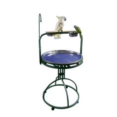 """A&E Cage 5-2828 Black 28"""" Diameter Play Stand with Toy Hook. Technical Details• Exterior Dimensions: 28"""" diameterProduct Features• Non-toxic & bird safe• 2 stainless steel feeder cups• Toy hook• Stainless steel seed tray• Wood perch• 4 easy rolling casters"""