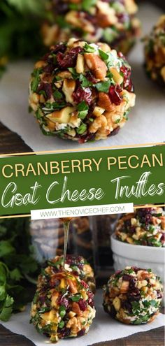 The perfect holiday appetizer for a crowd! Cranberry Pecan Goat Cheese Truffles looks so fancy and takes only 15 minutes to make from start to finish. It is loaded with creamy goat cheese, cranberries, and crunchy pecans! Make this for Thanksgiving and Christmas!