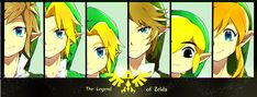 Left to right: skyward sword, ocarina of time (adult), ocarina of time (young), twilight princess, wind waker trilogy, a link between worlds