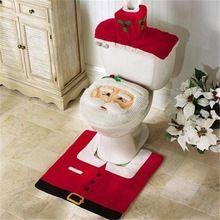 2016 Papai Noel Conjunto Tampa de Assento Do Toalete e Tapete Do Banheiro Tapete Contorno Decorações De Natal para Casa Papai Noel Navidad Decoracion alishoppbrasil