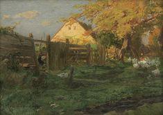 """THE FARMHOUSE"" (CA. 1910) by Roman Kochanowski (Polish,1857–1945);16.5 x 24.7 cm, oil, board.Agra-Art"